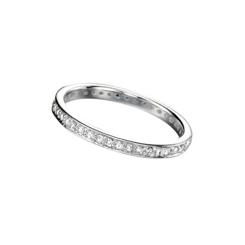 Eternity Silver Stacking Ring with Round Cubic Zirconia
