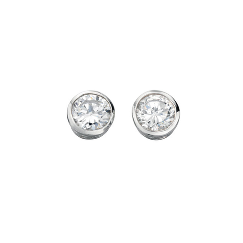 Kensington Cubic Zirconia Solitaire Silver Earrings