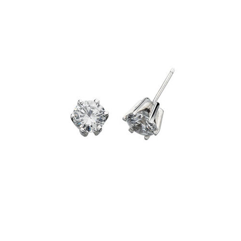 Round Solitaire Cubic Zirconia Earrings Claw Set