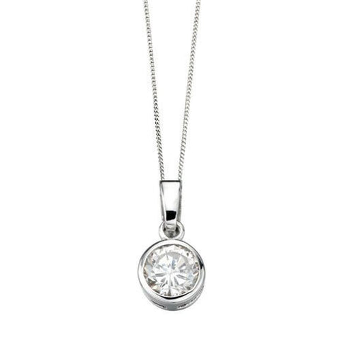 Round Solitaire Cubic Zirconia Silver Pendant