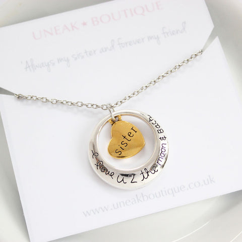 Full Moon Sister I Love You To The Moon and Back Pendant