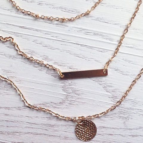Safari Layered Rose Gold Necklace