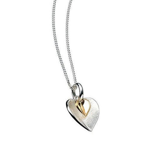Scratched Silver Heart Pendant with Gold Plated Heart