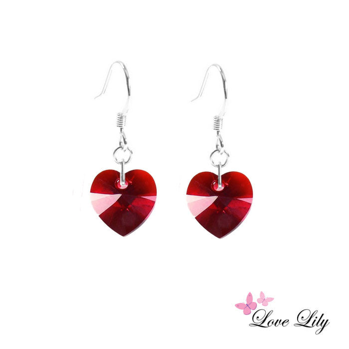 Siam Mini Crystal Heart Earrings by Love Lily