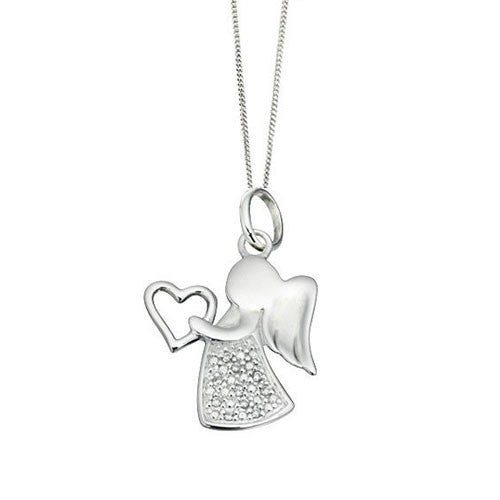 Silver Angel Pendant with Clear Cubic Zirconia