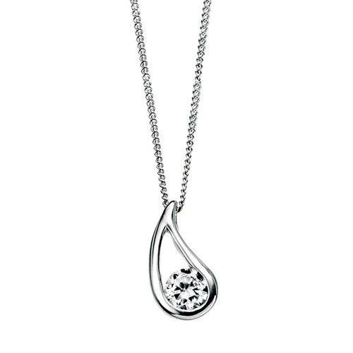 Silver Checkerboard Pendant with Clear Cubic Zirconia