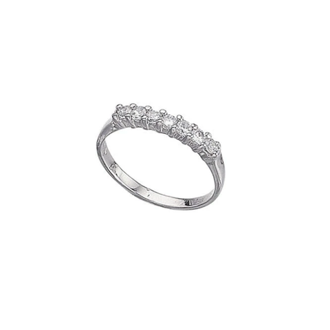 Silver Cubic Zirconia Seven Stone Eternity Ring