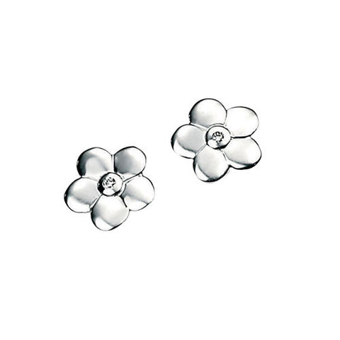 Girls Silver Flower D for Diamond Earrings