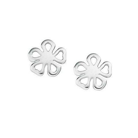Small Openwork Flower Silver Earrings