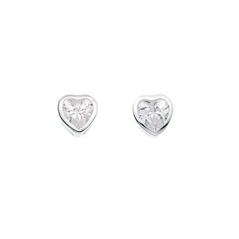 Calista Silver Cubic Zirconia Heart Earrings
