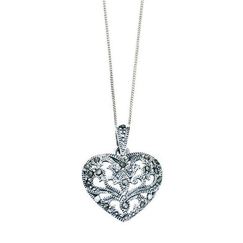 Silver Hollow Heart Marcasite Pendant