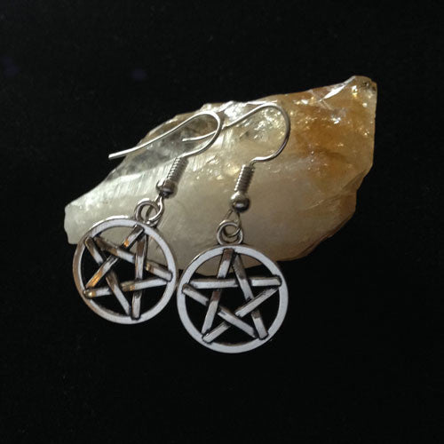 Magical Silver Pentagon Earrings