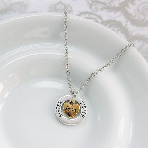 Sister Love Silver Plated Pendant