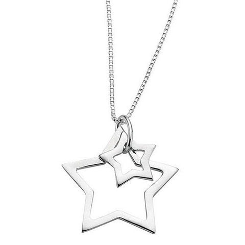 Skyline Double Star Sterling Silver Necklace