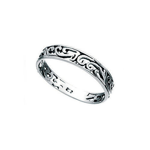 Ladies Slim Filigree Sterling Silver Ring