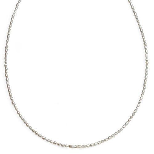 Slim White Freshwater Pearl Necklace