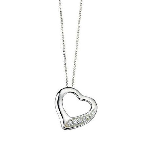 Slip on Silver Heart Necklace with Cubic Zirconia