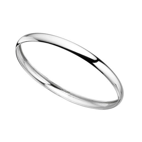 Smooth D Style Hollow Sterling Silver Bangle