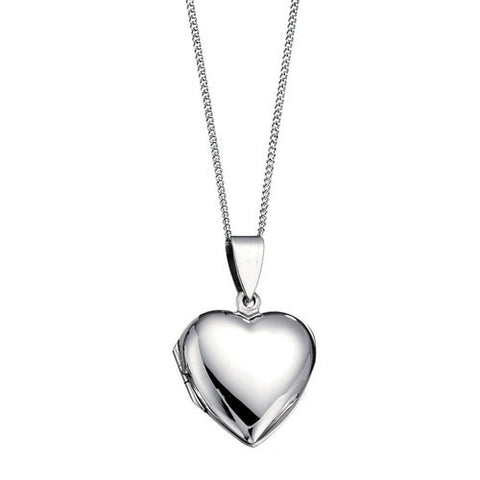 Smooth Polished Heart Silver Locket