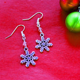 Snowflake Earrings with Czech Crystals