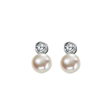 Solitaire Pearl Earrings with Cubic Zirconia