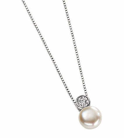 Solitaire Pearl Pendant with Cubic Zirconia