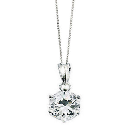 Claw Set Silver Bridal Pendant with Cubic Zirconia