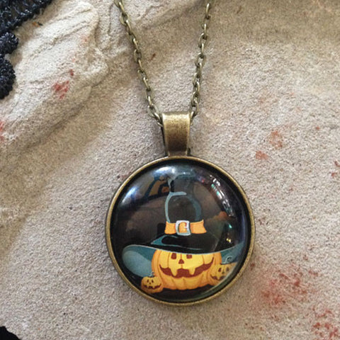 Spooky Pumpkin Halloween Necklace