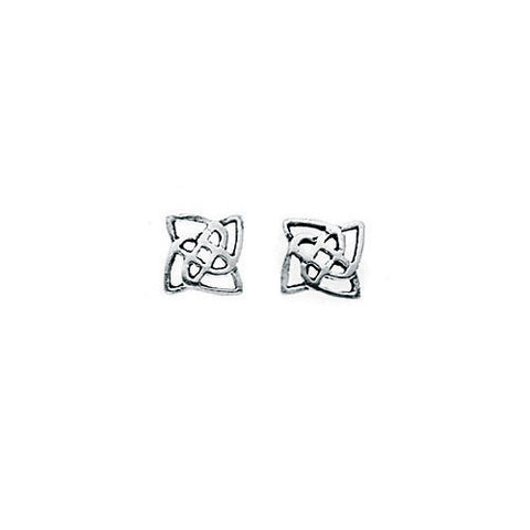 Square Shaped Silver Celtic Stud Earrings