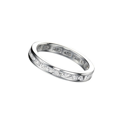 Eternity Silver Stacking Ring with Cubic Zirconia