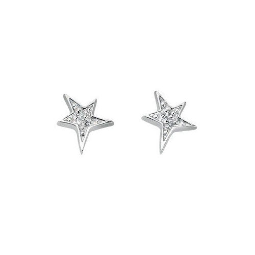 Cubic Zirconia Silver Star Earrings