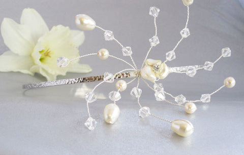 Starburst Swarovski Crystal and Pearl Side Hairband