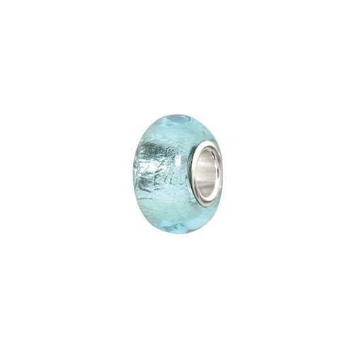 Sterling Silver Aqua Foil Glass Bead Charm
