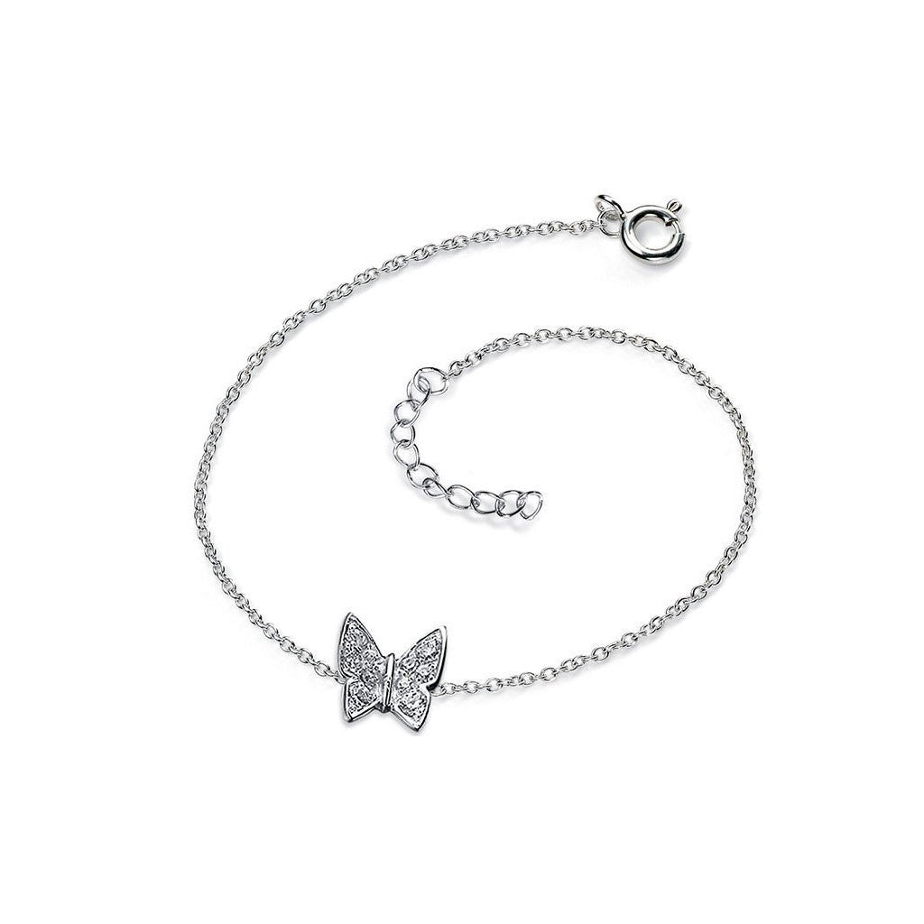 Sterling Silver CZ Butterfly Anklet ytpHeQc