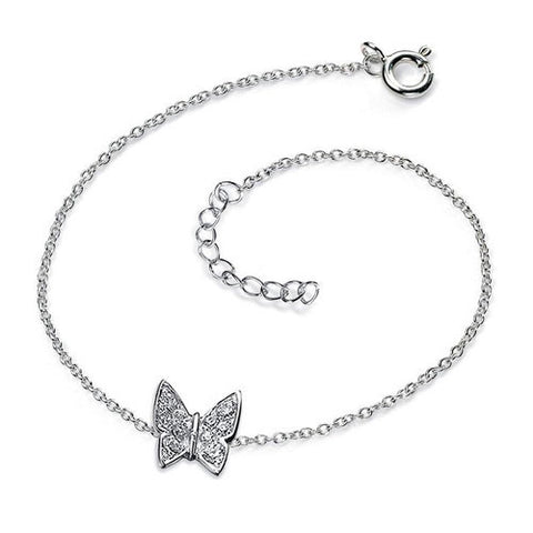 Sterling Silver Butterfly Charm Bracelet with Cubic Zirconia