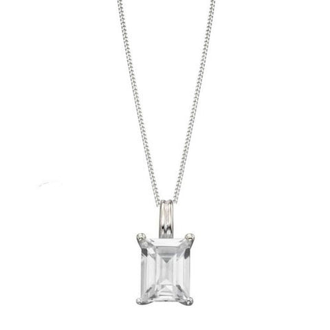 Sterling Silver Emerald Cut Clear Cubic Zirconia Pendant