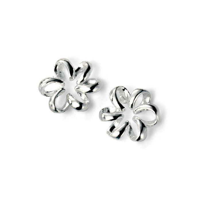 Elements Silver Rhodium Plated Flower Earrings
