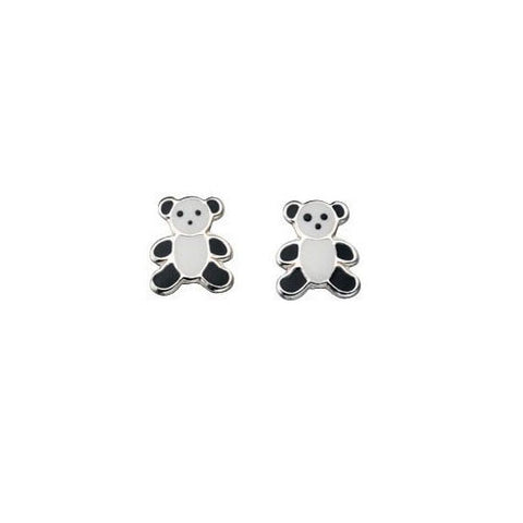 Sterling Silver Panda Bear Stud Earrings