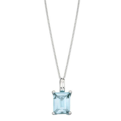 Sterling Silver and Aqua Blue Emerald Cut Cubic Zirconia Pendant