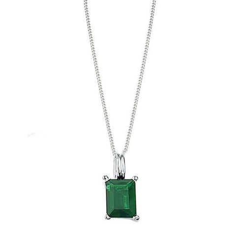 Sterling Silver and Emerald Cut Green Crystal Pendant