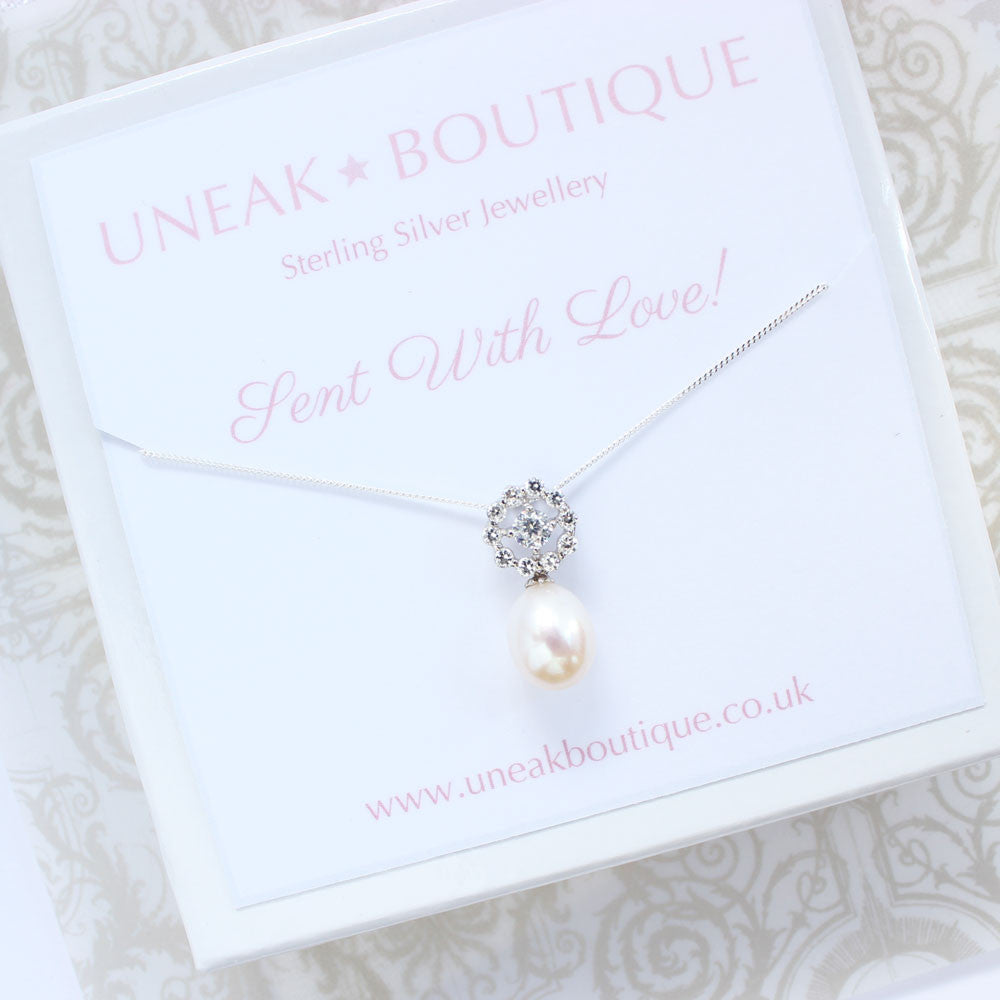 Sun Rose Pearl Pendant with Cubic Zirconia