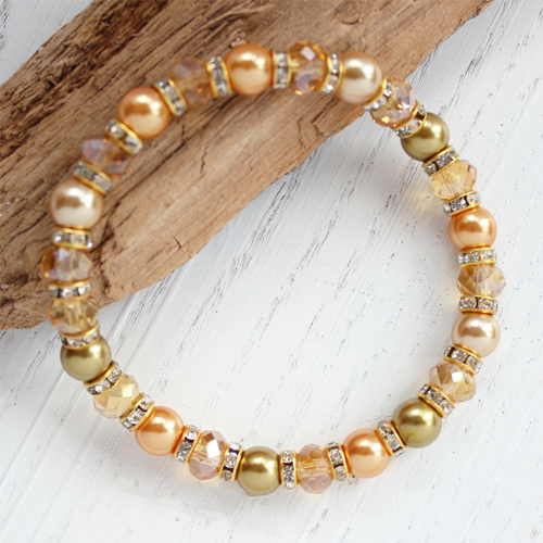 Sunrise Crystal and Pearl Handmade Bracelet