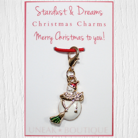 Sweeping Snowman Christmas Clip Charm