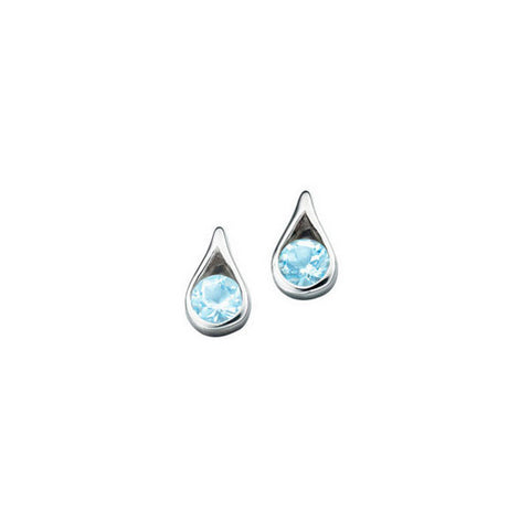 Silver Teardrop Blue Topaz Earrings