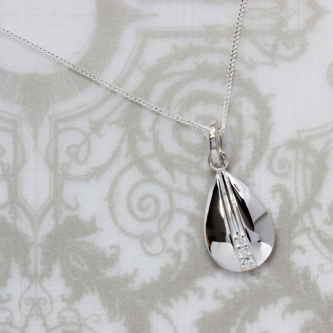 Teardrop Silver Pendant with Cubic Zirconia