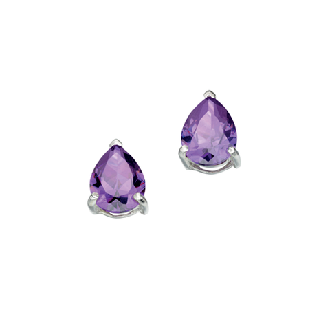 Teardrops of Amethyst Cubic Zirconia Silver Earrings