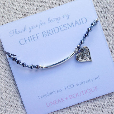 Thank you for being my Chief Bridesmaid Beaded Bracelet