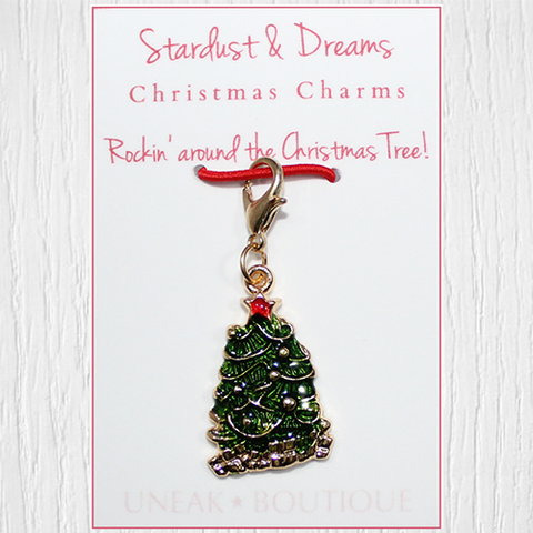 Traditional Rockin Christmas Tree Clip Charm