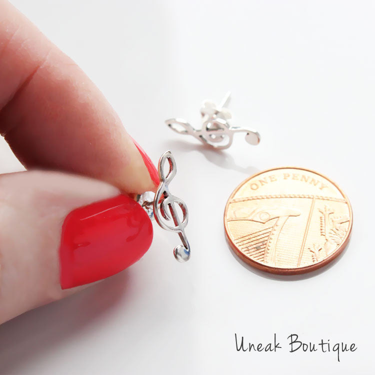 Treble Clef Silver Stud Earrings