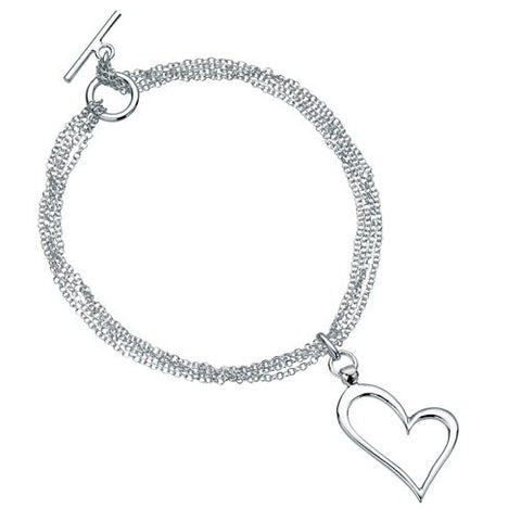 Open Heart Multi Chain T-bar Silver Bracelet
